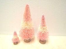 3 Rose Pink White Christmas Trees Shabby Bottle Brush Chic Sisal Ombre Ivory