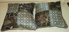 Pair of Brown Blue Tan Flower Abstract Print Throw Pillows  16 x 16