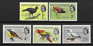 British Honduras 1966 Birds - o/ printed New Capital set MNH stamp S.G. 230-234