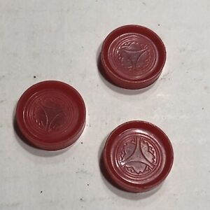 """vintage small magntic Mini checkers travel  3 each red parts 3/4"""" Pieces"""