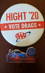2020 NHRA Robert Hight AAA pin and Button 3X Champion nice