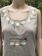 Vintage Basic Editions M Khaki Sleeveless Jumper Dress Embroidered Floral Pocket