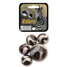Mega Marble- 24 Collectible Marbles,1 Shooter, Net bag- Zebra