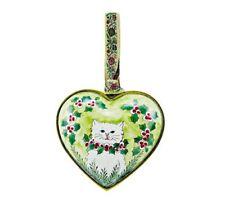 Kelvin Chen Enamel Copper Handpainted Christmas Ornament Heart - White Cat Kitty