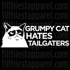 """GRUMPY CAT """"Hates Tailgaters"""" Meme Funny Angry Cat Vinyl Decal Sticker"""