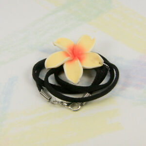New - Fashion Necklace -FRANGIPANI FIMO PENDANT - Australian Seller  k358