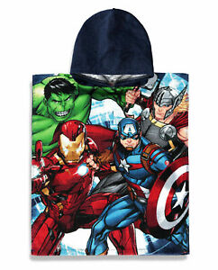 Marvel Avengers Towel Poncho Kids Toddler Character Hooded Bath Beach Swimming