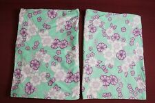 Two (2) Pottery Barn Standard Pillowcases Floral Pink / Green / Purple