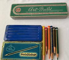 New listing 2 Vintage Pencil Tin Boxes, Farber Castell 6 Pencils- Art Guild No Pencils