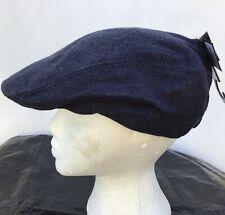 Mens Grey / Blue Herringbone Flat Cap one size