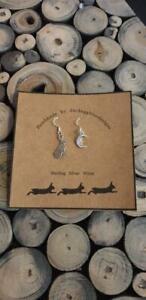 Moon & Hare Earrings, Sterling Silver Earwires