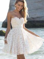 New Women Dress Sexy Bra Top Sleeveless Wedding Dress Skirt Lace Beach Bride