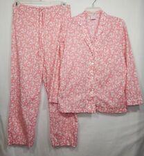BROOKS BROTHERS WOMENS PAJAMAS SET SMALL S SHIRT TOP PANTS PJS FLORAL BROS PINK