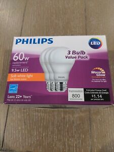 Philips 60W Equivalent Soft White A19 Dimmable LED  3-pack