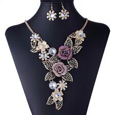 Handmade 3D Bling Crystal Flower Leaf Statement Collar Necklace Earring Set