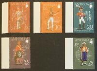 Antigua. Military Uniforms Full Set with Sheet. SG290/94. 1970 MNH. (MSC07)