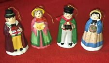 Set of 4 Vintage Village Carolers Christmas Past Porcelain Ornaments 3 1/4""