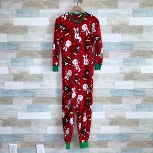 Disney Mickey Mouse Christmas Fleece Union Suit Pajamas Red Cozy Womens Medium