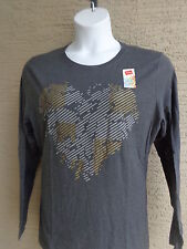 NWT Hanes Glitzy Graphic Cotton Blend L/S Crew Neck Tee Shirt XL Heth. Gray