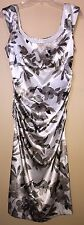 LONDON TIMES White Floral Rouched Pleats Bust Sleeveless Dress Ladies 12