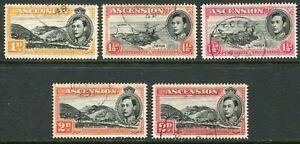 Ascension KGVI 1938-52 perf. 14 'set' of five 1d-2d SG 39c-41c used (cat. £66)