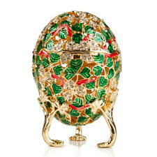 "3.7"" Green Clover Leaf Faberge Egg - Russian Imperial Egg Enameled Keepsake"