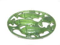 Green Trout Salmon Fish Enamel Cast Iron Kitchen Trivet