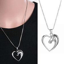 Da Donna Cavallo Ciondolo a forma di cuore catena lunga collana placcato argento Jewellery UK