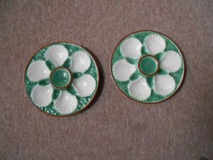 PAIR of Vintage French Majolica  OYSTER PLATES