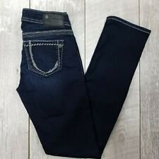 Silver Jeans Berkley Womens 26x32 Dark Wash Low Rise Slim Straight J53