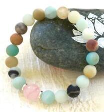 Spirituality cuff 8mm Amazonite and Rose Quartz Bracelet men Meditation Reiki