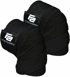 FIT ACTIVE SPORTS Weight Lifting SET Of 2 KNEE WRAPS Gym Powerlifting Support