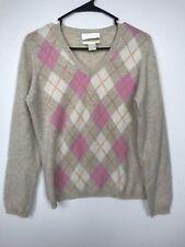 Geneva 100% Cashmere Sweater Women's Size Large V-Neck Argyle Diamond X2