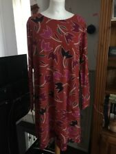 Gudrun Sjoden Burnt Orange Floral Print Dress Size XL