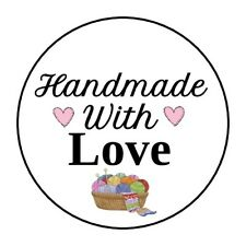 """30 HANDMADE WITH LOVE ENVELOPE SEALS LABELS STICKERS 1.5"""" ROUND KNITTING"""
