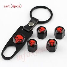 4X Car Air Dust Wheel Rim Tyre Tire Valve Stem Cap Trim Punisher Red Skull Style