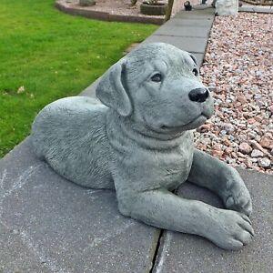Steinfigur Hund Rottweiler Welpe Steinguss Gartenfigur Frostfest 42