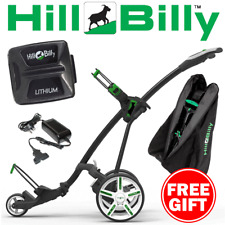 HILLBILLY ELECTRIC GOLF TROLLEY +18 HOLE LITHIUM BATTERY & FREE TRAVEL COVER
