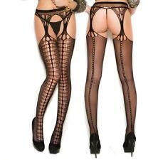 Crochet Suspender Pantyhose Nylons Stockings Faux Seam Sexy Diamond Design Hose