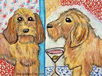 BASSET FAUVE DE BRETAGNE Drinking a Martini 4x6 Dog Art Print Signed