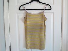 Ann Taylor LOFT Striped Cami, Small, Golden Rod & Gray