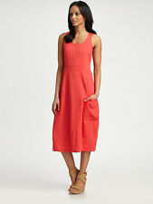SZ M Eileen Fisher Flora Coral Organic Linen Viscose Stretch Lantern Dress $308