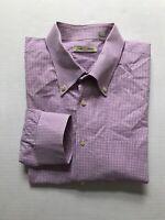 Peter Millar Sz XL Purple Gingham Plaid Button Down Dress Shirt Long Sleeve