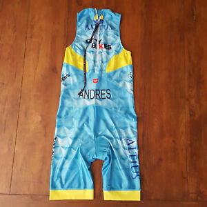 Taymory Mens Large Triathlon Suit Rear Zip Trisuit Blue Skinsuit Cycling Swim L