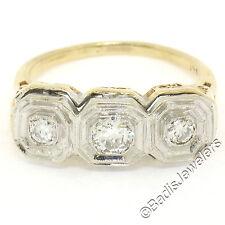 Antique Art Deco 14k Two Tone Gold .39ctw European Diamond Filigree 3 Stone Ring