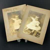 ANTIQUE Cabinet Card Portrait Photo Pretty Baby Photograph Curled Toes Sepia OLD