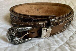 Nocona Belt Company Mens 36 Brown Silver Western Belt Used