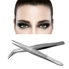 2pcs Silver Stainless Steel Curved Tweezers Forceps + Straight Tip Tweezer Tool