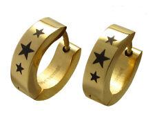 Kikuchi Ohrringe Gold glatt Edelstahl Creolen Stern Sterne Star Herren Damen