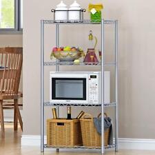 4 Tier Kitchen Wire Rack Chrome Metal Storage Shelving Wire Shelf Organizer UK